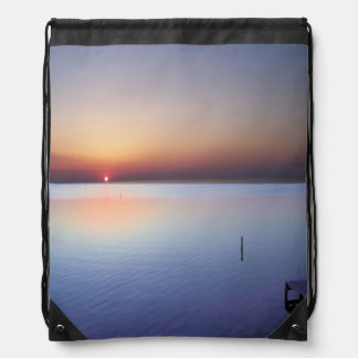 Colorful Beach Sunset Drawstring Bag