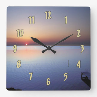 Colorful Beach Sunset Square Wall Clock