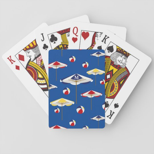 Colorful Beach Umbrella And Ball Custom Playing Cards