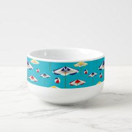 Colorful Beach Umbrella and Beach Ball Custom Soup Mug