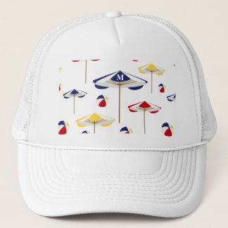 Colorful Beach Umbrella and Beach Ball Custom Trucker Hat