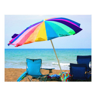 """Colorful beach umbrella and chairs in Florida 8.5"""" X 11"""" Flyer"""
