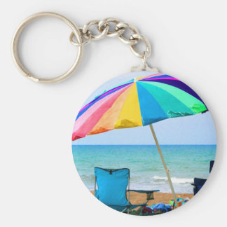 Colorful beach umbrella and chairs in Florida Basic Round Button Keychain