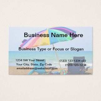Colorful beach umbrella and chairs in Florida Business Card