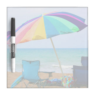 Colorful beach umbrella and chairs in Florida Dry Erase Board