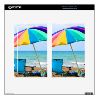Colorful beach umbrella and chairs in Florida Kindle Fire Decals