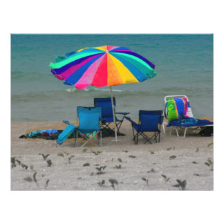 "colorful beach umbrella chairs Florida scene 8.5"" X 11"" Flyer"