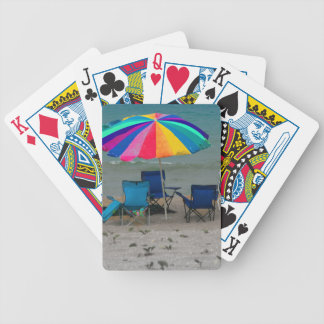 colorful beach umbrella chairs Florida scene Bicycle Playing Cards