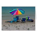 colorful beach umbrella chairs Florida scene Stationery Note Card