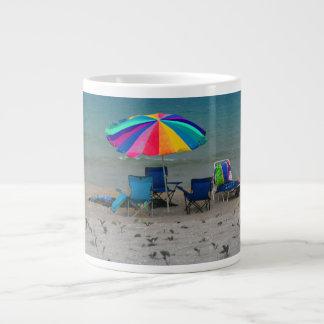 colorful beach umbrella chairs Florida scene Giant Coffee Mug