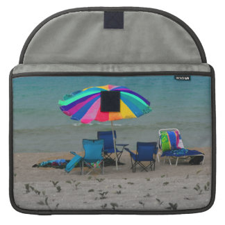 colorful beach umbrella chairs Florida scene MacBook Pro Sleeve