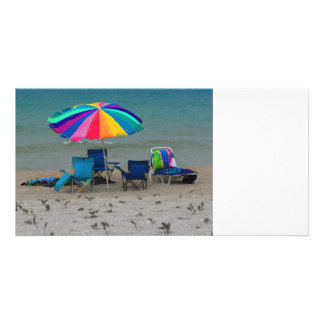 colorful beach umbrella chairs Florida scene Photo Card