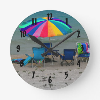 colorful beach umbrella chairs Florida scene Round Wallclock