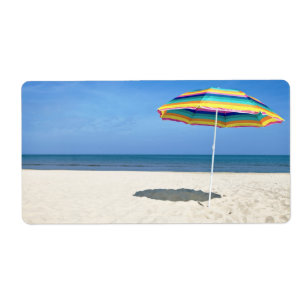 Beach umbrella cards greeting photo cards zazzle colorful beach umbrella on the sandy beach label m4hsunfo
