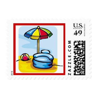 Colorful Beach Umbrella Summer Postage