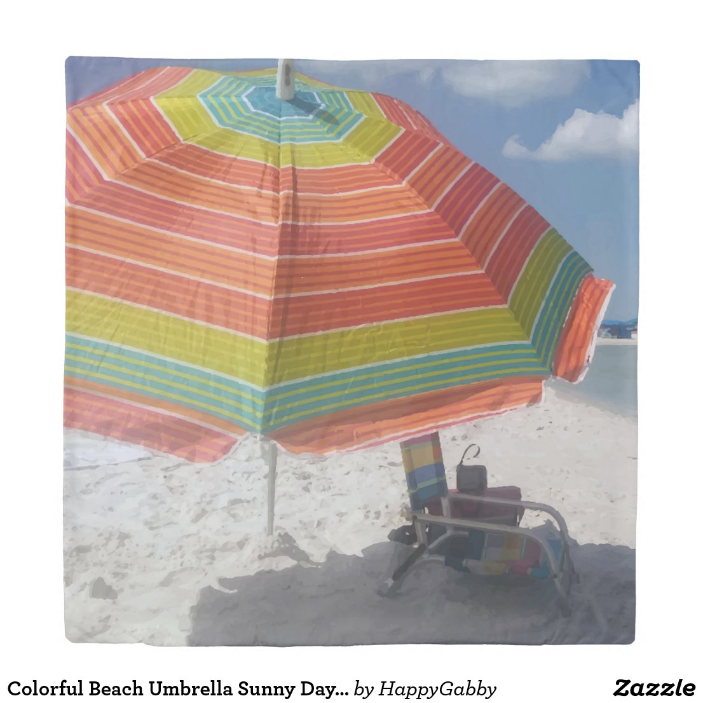 Beach Umbrella Sunny Day Picture Duvet Cover