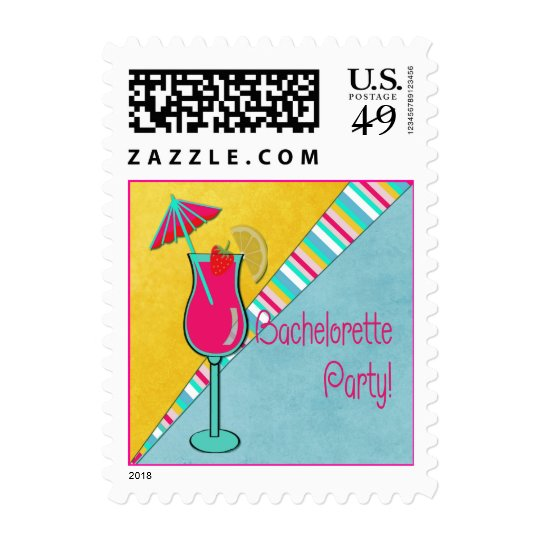 Colorful Beachtime Bachelorette Party Postage
