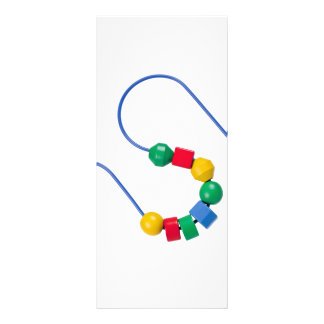 Colorful bead and wire toy rack card design
