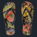 "Colorful Beaded Flowers on Velvet Flip Flops<br><div class=""desc"">This Colorful Beaded Flowers image was pieced together from a beaded antique velvet handbag.</div>"