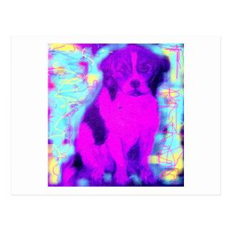 colorful beagle dog postcard