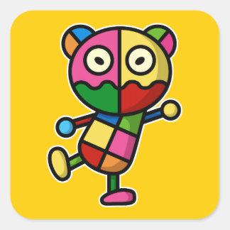 colorful bear square sticker
