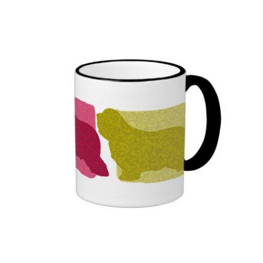 Colorful Bearded Collie Silhouettes Mug