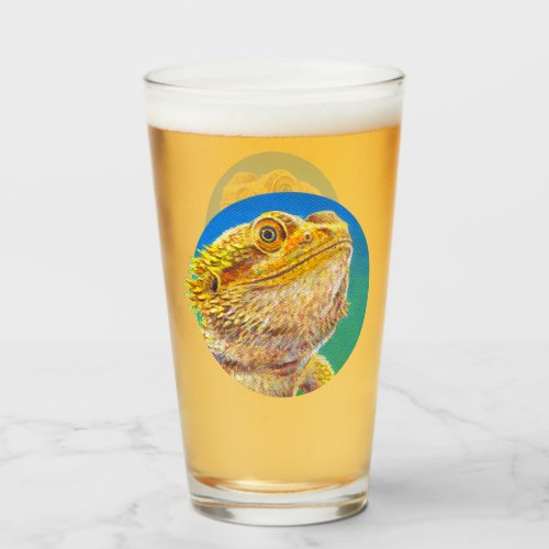 Colorful Bearded Dragon Drinking Glass Cup