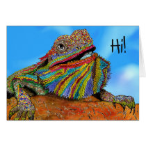Colorful Bearded Dragon Greeting Card