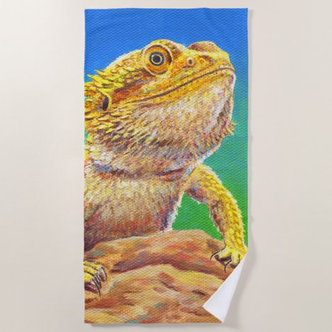Colorful Bearded Dragon Lizard Beach Towel