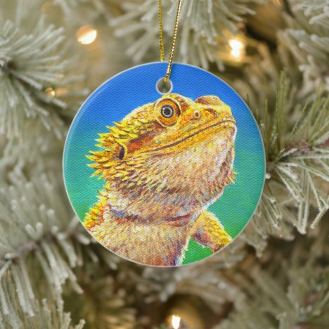 Colorful Bearded Dragon Lizard Ceramic Ornament