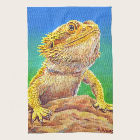 Colorful Bearded Dragon Lizard Kitchen Towels