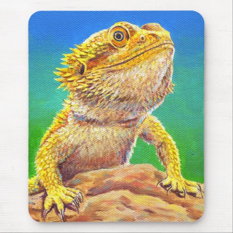Colorful Bearded Dragon Lizard Mouse Pad