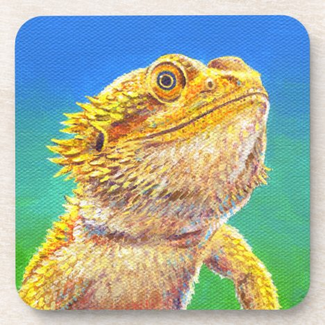 Colorful Bearded Dragon Lizard Plastic Coasters