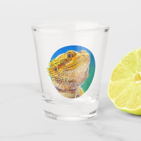 Colorful Bearded Dragon Lizard Shot Glass