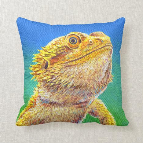 Colorful Bearded Dragon Lizard Throw Pillow