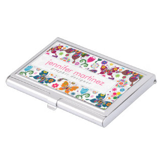 Colorful Beautiful Butterflies And Flowers Pattern Business Card Case