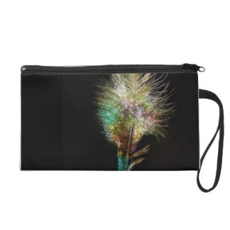Colorful Beautiful Feather with Black Ground Wristlet Purse
