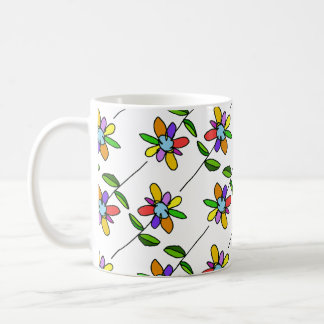 colorful & beautiful flowers pattern coffee mug