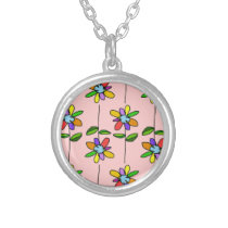 colorful & beautiful flowers pattern silver plated necklace