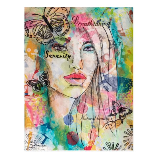 Colorful Beautiful Woman Butterflies Whimsical Art Postcard