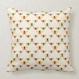 Colorful Bees throwpillow