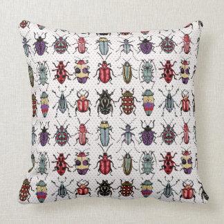 Colorful Beetles Throw Pillows