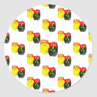 Colorful Bell Peppers Classic Round Sticker
