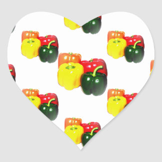 Colorful Bell Peppers Heart Sticker