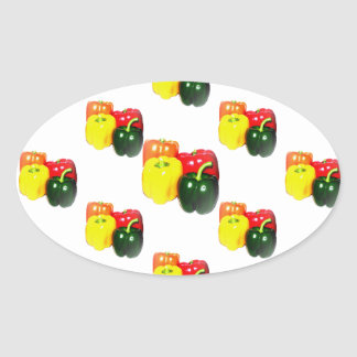 Colorful Bell Peppers Oval Sticker