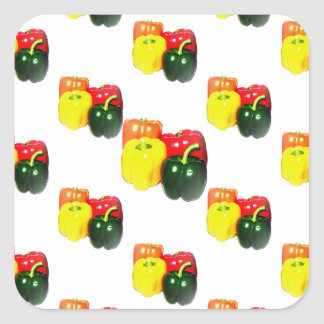 Colorful Bell Peppers Square Sticker