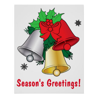 Colorful Bells with Mistletoe and Red Bow Poster