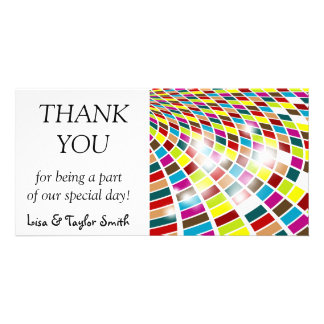 Colorful bended shapes personalized photo card
