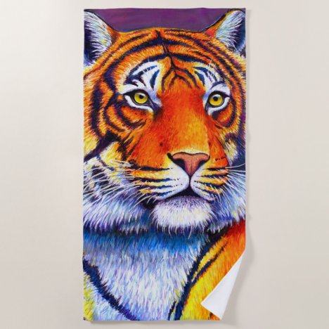 Colorful Bengal Tiger Beach Towel