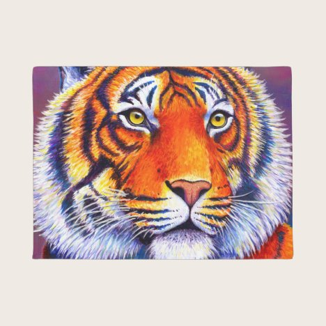 Colorful Bengal Tiger Door Mat